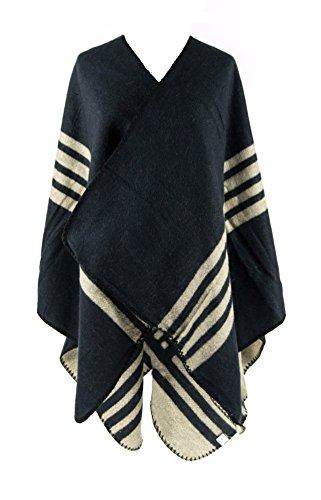 MANUMAR Ponchos für Damen | Cape in dunkelblau mit beigen Streifen | Überwurf Cape | Umhang | Wendeponcho | Perfektes Herbst/Frühling/Winter Accessoire |