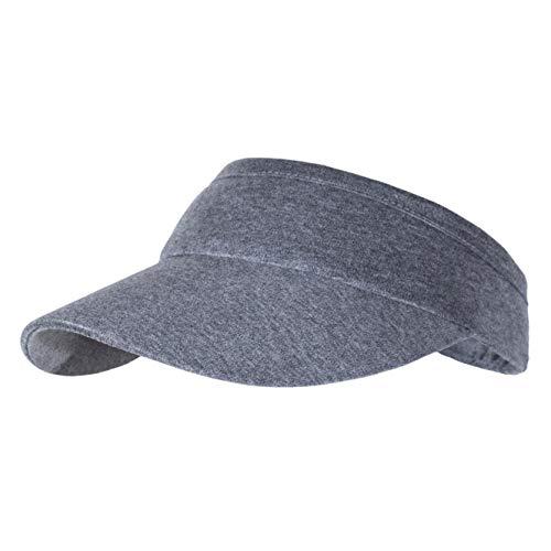 Non-Clip Elastic Sun Visors for Women & Men, Comfortable Cotton Cap for Daily Jogging Running Outdoor Sports Tennis Grey