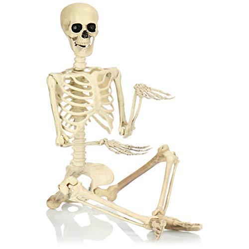 com-four® Esqueleto Deco para Halloween - Esqueleto XXL de plástico para Colgar - Esqueleto con Factor de Miedo para Halloween, Carnaval, Fiestas temáticas (90cm)