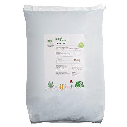 BioVegetal organisch-mineralischer Universal-Dünger mit Guano und Langzeitwirkung durch Fixierung der Nährstoffe durch Ton-Humus-Komplex 25 kg Sack