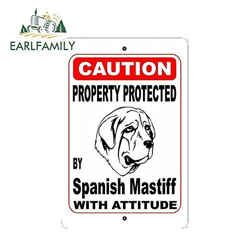A/X Sticker de Carro 13 cm 8,7 cm Propiedad protegida por la Raza de Perro mastín español con Actitud Pegatina de Coche Vinilo Ventana Pegatina de Parachoques de Coche