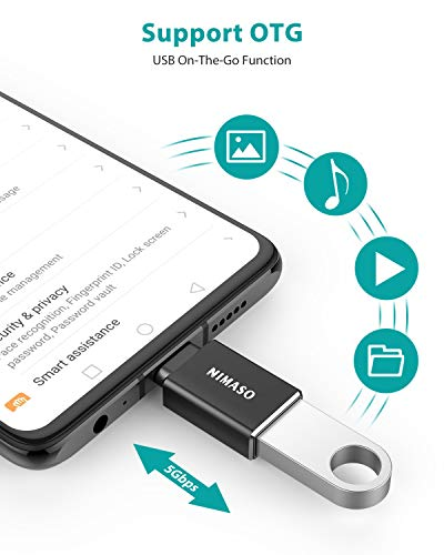 Nimaso USB C auf USB Adapter 3.0,USB C OTG Adapter für MacBook Pro 2018/2017/2016, Chromebook Pixelbook, LG V20/G5, Samsung Galaxy S9 S8 S8+ Note8, Google Pixel 2/2XL, Nexus 6P/5X (4 Pack)