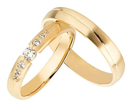 Ardeo Aurum Trauringe Damenring und Herrenring aus 375 Gold Gelbgold mit Zirkonia Eheringe matt Paarpreis