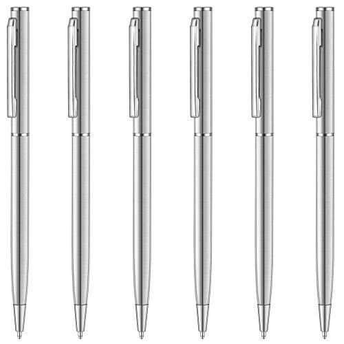 Unibene Slim Stainless Steel Retractable Ballpoint Pens, Nice Gift for Business Office Students Teachers Wedding Christmas, Medium Point(1 mm) 6 Pack-Black ink