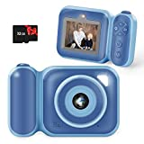 omzer Kids Camera for Boys - Compact HD Digital Camera Birthday Gifts for 4-8 Year Old Boy, Creative Kids Camcorder for Age 3 4 5 6 7 Years Old Child, Shockproof Toy Cameras with 32GB SD Card, Blue