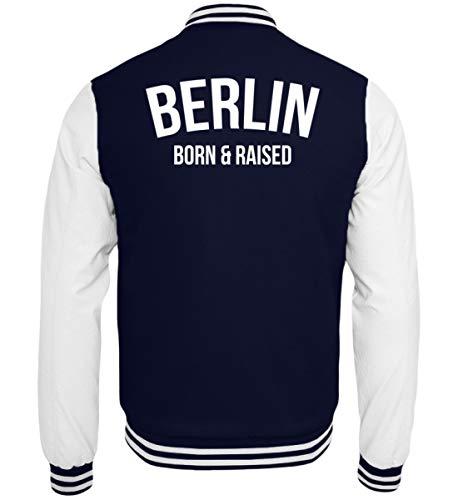 PlimPlom Berlin Born & Raised College Jacke - College Sweatjacke -M-Dunkelblau-Weiss