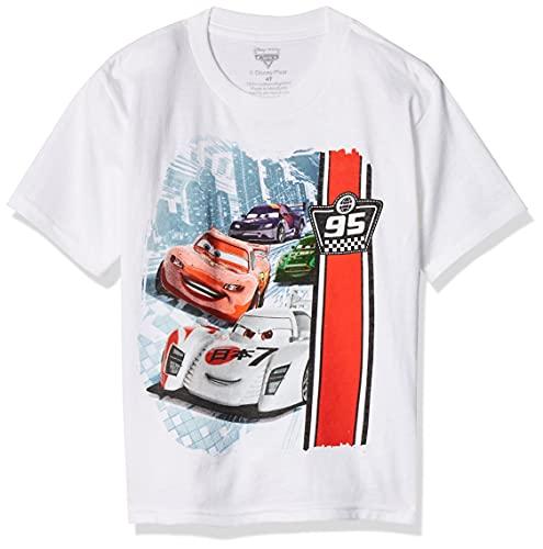 Cars Little Boys' Toddler Race Toddler T-Shirt, White, 2T