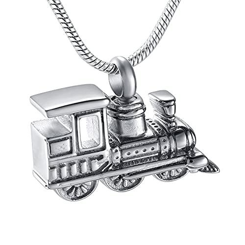 Liart Mini Collar de cremación de Tren para Cenizas, Colgante de Recuerdo de urna con medallón conmemorativo de Acero Inoxidable para Mujeres y Hombres