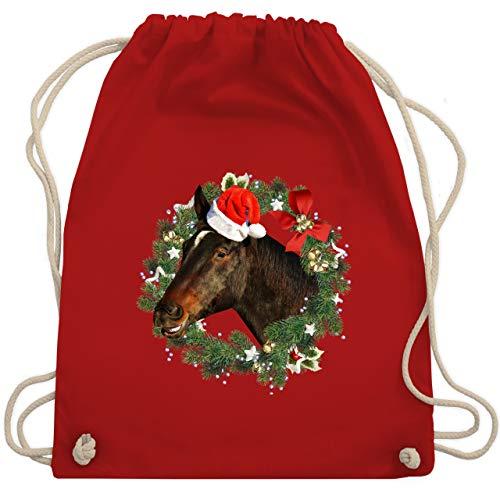Shirtracer Weihnachten Kinder Geschenk Christmas - Pferd mit Weihnachtsmütze im Kranz - Unisize - Rot - Geschenk - WM110 - Turnbeutel und Stoffbeutel aus Baumwolle
