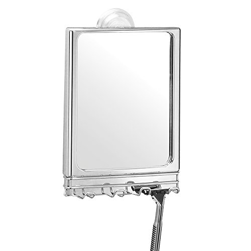 """iDesign Lineo Stainless Steel Shower Suction Shaving Center with Mirror - 6.75"""" x 3"""" x 11.5"""""""