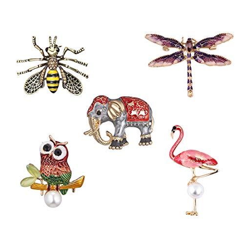 Brosche Vintage, Eule / Elefant / Libelle / Flamingo / Biene Brosche Pins Damen und Herren Retro Broschen für Tuch Schal und Mütze (5er Pack)