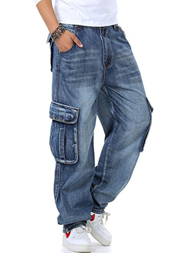 Yeokou Men's Casual Loose Hip Hop Denim Work Pants Multi Pockets Cargo Jeans (44, Light Blue)