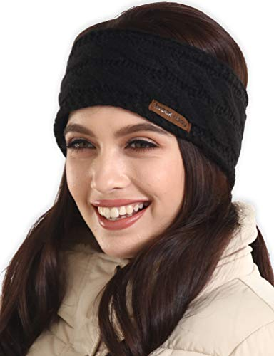 Womens Winter Ear Warmer Headband - Cable Knit Fleece Lined Ear Cover & Headwrap - Soft, Stretchy & Thick Head Wrap