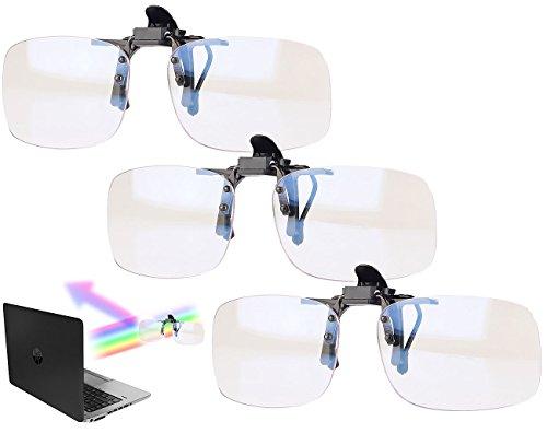 infactory Brille Blaufilter: 3er-Set Augenschonende Brillen-Clips, Blaulicht-Filter für Bildschirme (Brillenclip Sonnenschutz)