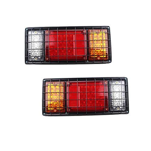 HEHEMM Lot de 2 feux arrière universels étanches 40 LED avec grille en fer 12 V