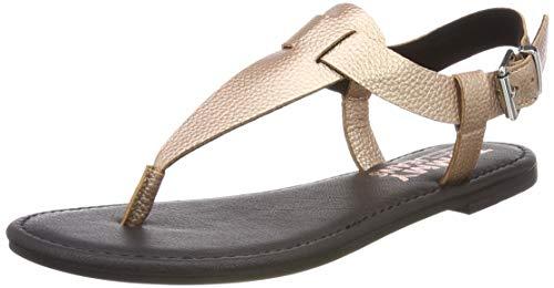 Hilfiger Denim Damen Shiny METALLIC Flat Sandal Zehentrenner, Pink (Rose Gold 652), 38 EU
