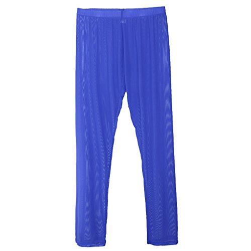 Sharplace Pyjama Hose Männer Lange Transparente netz Hose Jogginghose Unterwäsche Yoga Hose - Blau, L