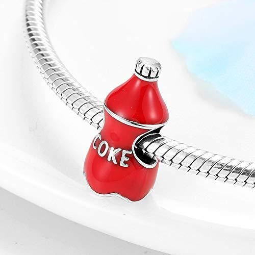 LIDAYE Deliciosa Bebida Coca Cola de Plata de Ley 925, Cuentas de Esmalte Rojo se Adapta a la Pulsera Original, auténtica joyería DIY, Regalo