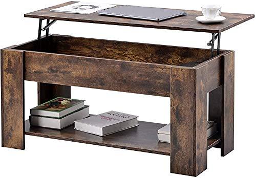 La mesa lateral se puede levantar con una mesa con un estante, utilizado para la mesa de la sala de estar de la sala de estar. Mesa de sofá industrial,Brown