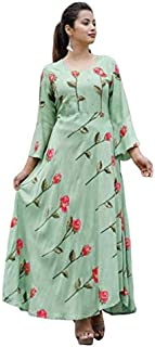 Gaurav Creation 3/4 Sleeves Rayon Long Kurti Set for Women