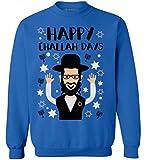 Awkward Styles Hanukkah Sweatshirt Happy Challah Days Sweater Jewish Celebration Blue L