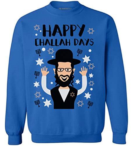 Awkward Styles Hanukkah Sweatshirt Happy Challah Days Sweater Jewish Celebration Blue M