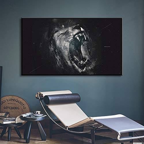 SADHAF Black and White Lion Roaring Murals and Posters Animal Paintings Printed On Canvas for Home Decor A1 30x40cm
