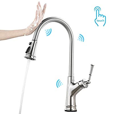 Durafe Pull out Touch Kitchen Faucet with Pull Down Magnetic Sprayer, Kitchen Sink Faucet Single Level Brushed Nickel