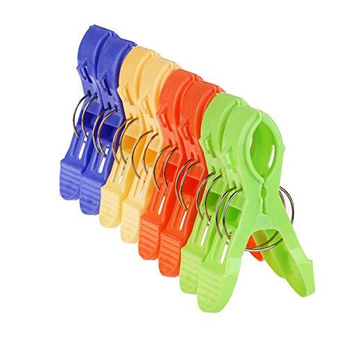 Nuolux große Plastik-Klammern für Strandhandtücher, Sonnenliegen, Decken, 8 Stück, in 4 Farben