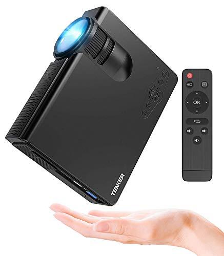 Proyector, TENKER Q5 Mini proyector de video 2200 lúmenes Full HD 1080P Proyector de LED portátil Soporte HDMI USB TF VGA AV para iPhone iPad Teléfono inteligente TV Xbox PC