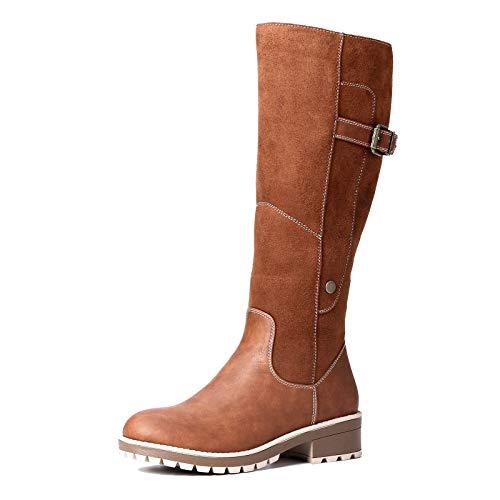 Camfosy Botas para mujer Botas de invierno hasta la rodilla Botas altas con forro de piel Zapatos cálidos de tacón bajo Botas largas para la nieve Calzado informal retro Negro Marrón Gris Brown