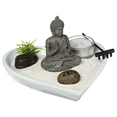 Ducomi Jardín Zen de mesa con bandeja, arena, figura de Buda, roca – Kit de meditación japonesa – Accesorios para el hogar decoración interior Idea regalo (Komorebi)