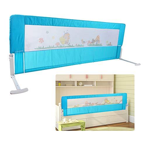 Greensen Barandilla de La Cama Guardia de Seguridad para Niños, Plegable Riel de Barrera Cama Transpirable (Azul, 150 x 54 cm) ⭐