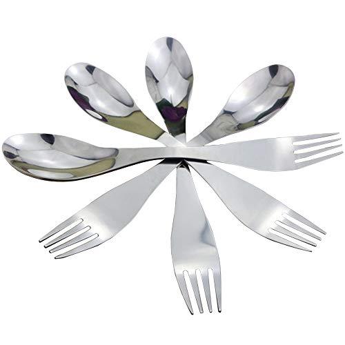 yyuezhi 4 Cucharas y Tenedores Creativos 2 en 1 Cuchara y Te