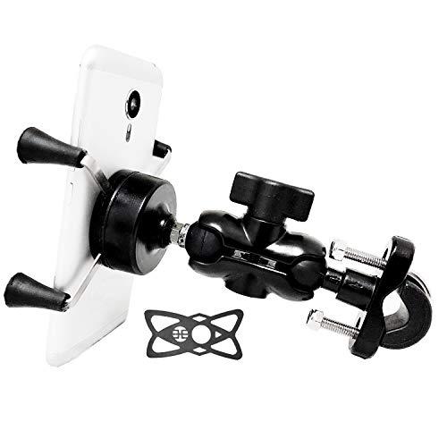 Motorrad Handyhalterung, Handy-Halter Fahrrad Aluminium 360° Drehgelenk für 3,5-6,5 Zoll Smartphone Navi für Montage am Lenker oder Rückspiegel