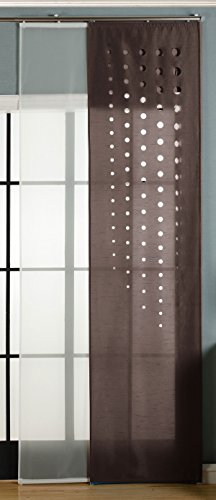 Gardinenbox 2er-Pack Schiebegardine Flächenvorhang Toledo Lasercut Wildseide Optik Voile, Braun, 245x60 cm (HxB) inkl. Paneelwagen und Beschwerungsstangen, 165660