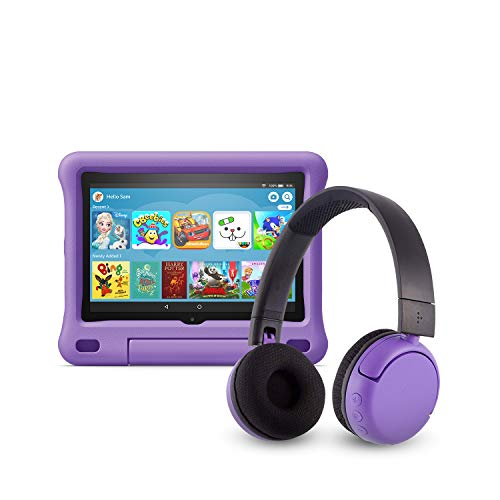 All-new Fire HD 8 Kids Edition tablet (32 GB, Purple Kid-Proof Case) + BuddyPhones Headset, Pop Time in Purple (Ages 8-15)
