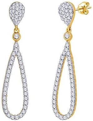 IGI Certified Tear Drop Round Diamond Accent Dangling Earrings In 10k Solid Gold (0.4 Cttw)