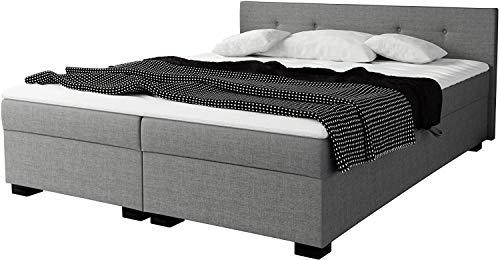Mirjan24 Polsterbett Mukke, Doppelbett mit 2 Bettkästen, Bett mit Polster Kopfteil, Bettgestell, Elegante Ehebett (Sawana 21, 160 x 200 cm + Topper.)