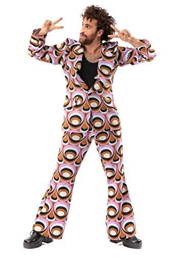 Original Replicas Sechziger Siebziger Jahre Hippie Disco Soul Dance Psychedelic Eyes Kostüm Jacke und Hose Mann L - XS bis 3XL