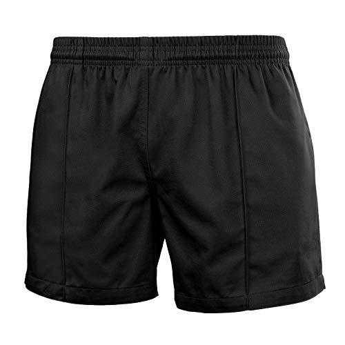FitsT4 Men & Women Pro Rugby Shorts Sports Team Training Wear Elastic Waist Shorts with Pockets Black XXXL