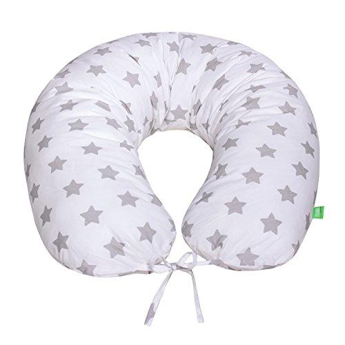 LULANDO Bomerang Oreiller de sommeil - Oreiller de maternité BOMERANG 200x39 cm - OEKO-TEX Standard 100 - 100% Cotton - Couleur: Grey Stars / White