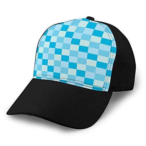 Holefg3b Gorra de béisbol de ala Plana Impresa Snapback de Ocio para Mujer, Popular Cielo Azul, Color mar, Tono, ajedrez, Gorra Simple