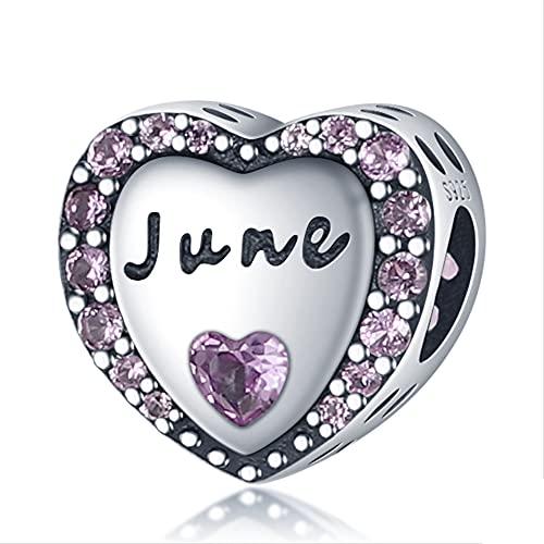 Brazalete de Pulsera de Cuentas en Forma de corazón de Junio púrpura Blanco de Plata de Ley 925