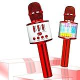 Micrófono inalámbrico Bluetooth para niños, portátil, Karaoke portátil, Reproductor de TV para casa, con función de grabación, Compatible con Dispositivos Android iOS (Red)