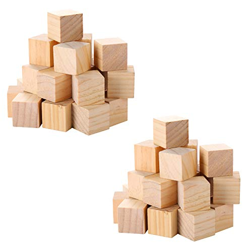 VABNEER 74Pcs Cubos de Madera Cubos de Madera Lisos Sin Acabar Para Manualidades...