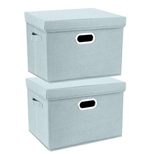 TYEERS 2 Paquetes Caja de Almacenamiento con Tapa y Asa, Cestas de Almacenaje Plegables de Ropa de Algodón Lino, Organizadores de Almacenamiento de Juguetes, Estantes, Ropa y Libros, etc. - Aqua