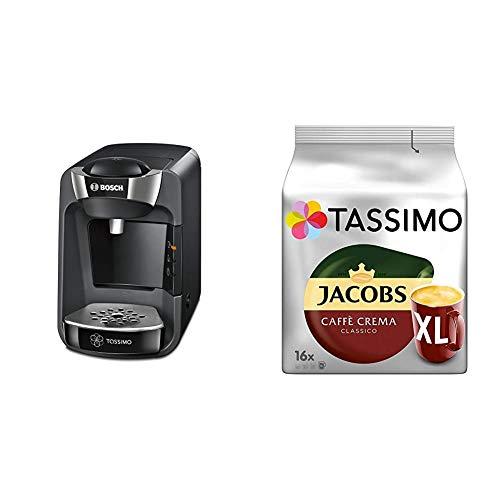 Bosch TAS3202 Tassimo Suny Kapselmaschine, über 70 Getränke, vollautomatisch, geeignet für alle Tassen + Tassimo Kapseln Jacobs Caffè Crema + Latte Macchiato + Milka + Probierbox