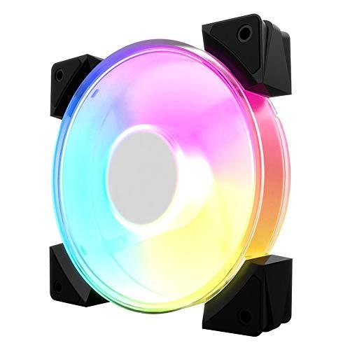 Ventilador CPU Ventilador RGB Más Brillante Efectos Iluminación LED CPU Caja Computadora Ventilador Silencioso Interfaz Grande 4 Pines 8 Cuentas Lámpara Tecnología Ultrasónica Color Transparente