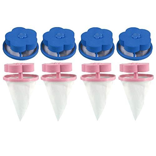 JIUZHOU 2/4/6/8/PCS Filet Filtre à Cheveux, Dispositif Flottant de RécupérationPoils pour Animaux de Compagnie de Filtrage de Poils de Nettoyage Sac Filtre à Flotteur Universel pour (8PCS,Bleu,Rose)